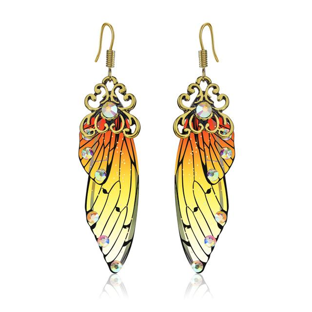 Handmade Fairy Wing Earrings - Orange