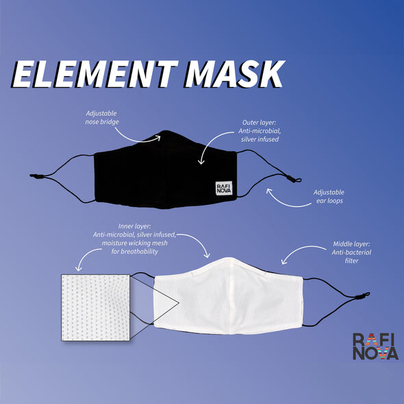 Front view of Element Mask in solid black with solid black ear loops .Element Features List: Adjustable nose bridge. Outer layer; Antimicrobial, silver infused fabric. Front view of Inner Layer; antimicrobial, silver infused, moisture wicking mesh for breathability. Adjustable ear loops. Middle Layer; antibacterial filter.
