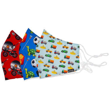Kids Everyday Mask 3-pack Playtime Emoji Bundle: 1 red motorcycle record dice guitar pattern mask, 1 blue lacrosse turtle soccer ball and french fries pattern mask, and 1 truck car and submarine pattern mask. Side view.