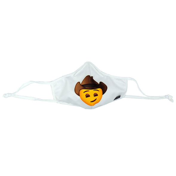 Front view of Rafi Nova x emoji Adults Superfit Mask in white with cowboy emoji. White Mask with yellow smiling face wearing brown cowboy hat . White adjustable ear loops.