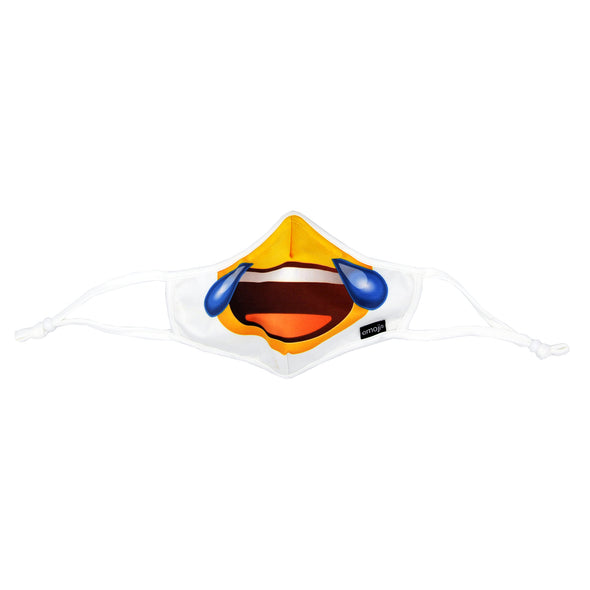 Front view of Rafi Nova x emoji Adults Superfit Mask in crying laughing pattern. White mask with half of yellow smiling face with tears sliding down cheeks. White adjustable ear loops.