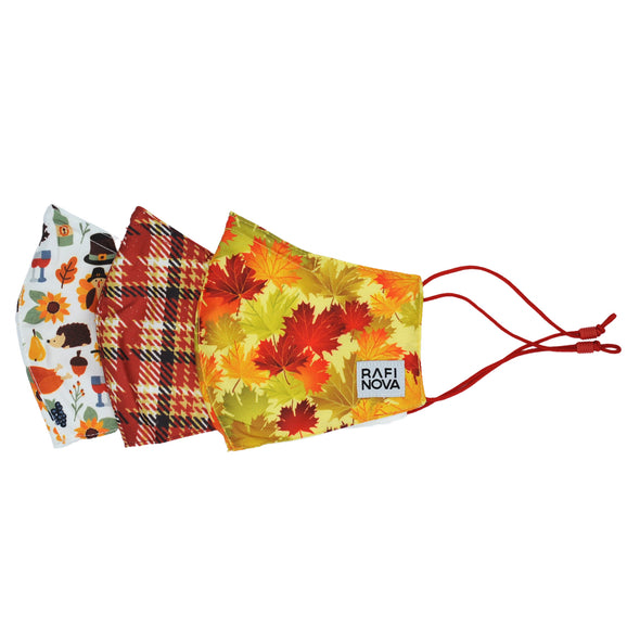 one light blue thanksgiving pattern, one orange and red plaid, and one fall leaves pattern everyday mask