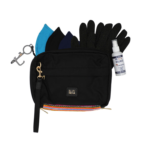 Front view of Rafi Nova Ready Set Go Bag in Black with rainbow fabric detailing. Contains black copper infused gloves. Contains bright blue, black, and navy everyday essentials mask. Includes hand sanitizer spray and contactless metal touch tool.