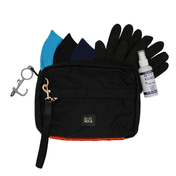 Front view of Rafi Nova Ready Set Go Bag in Black with red fabric detailing. Contains black copper infused gloves. Contains bright blue, black, and navy everyday essentials mask. Includes hand sanitizer spray and contactless metal touch tool.