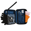 Inside view of Rafi Nova Ready Set Go Bag. Navy blue easy rip clean fabric. Clear pocket contains copper infused gloves. Pocket for hand sanitizer spray. Contains three everyday essentials masks in orange, light pink and rose pink. Features black lining.