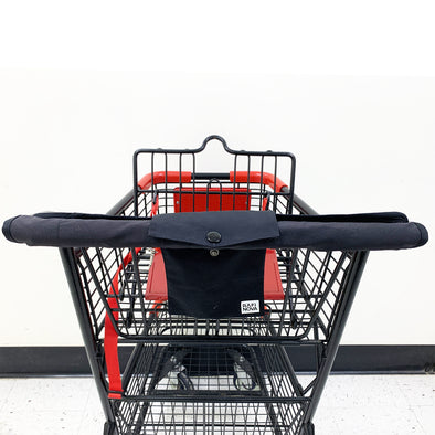 Front view of Rafi Nova shopping cart cover in black attached to shopping cart.