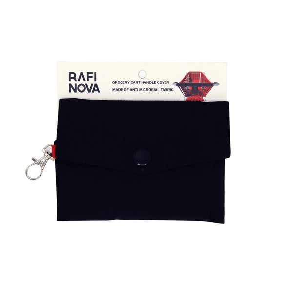 Front view of Rafi Nova shopping cart cover in solid black.