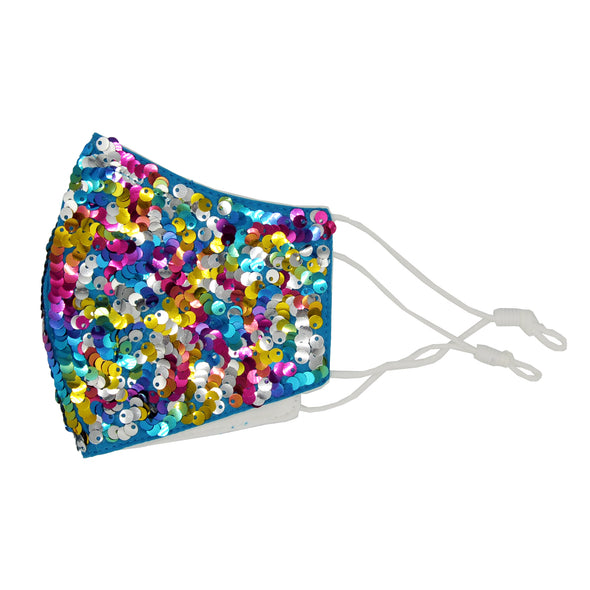 side profile of kids rainbow sequin everyday mask