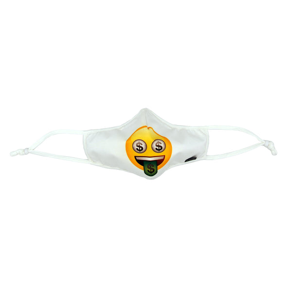 Rafi Nova x emoji Adults SuperFit Mask in Money pattern. White mask with yellow smiling emoji face with $ eyes and $ green tongue. White adjustable ear straps.