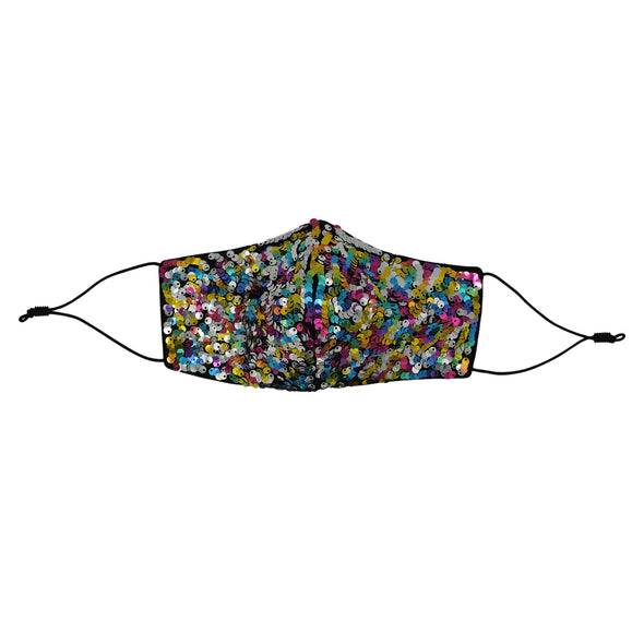 one adult rainbow sequin everyday mask front view