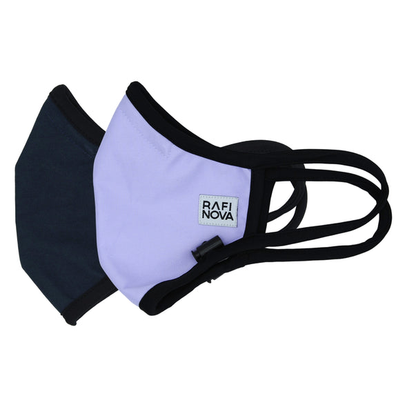 Sideview of Adults Performance Mask 2-Pack: 1 solid navy blue mask and 1 solid lilac mask with black ear straps and an adjustable chin toggle