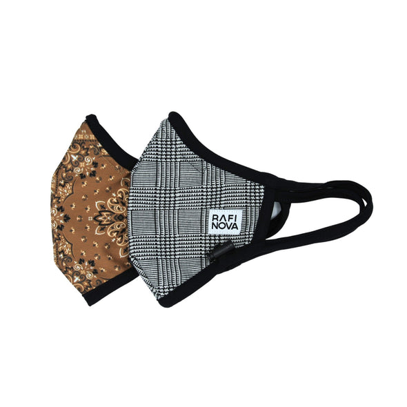 Side View of Adults Performance Mask 2-Pack Black Glen Plaid and Bandana Leaves: 1 brown bandana pattern mask with solid black earloops and adjustable chin toggle and 1 black and white glen check pattern mask with solid black earloops and adjustable chin toggle.