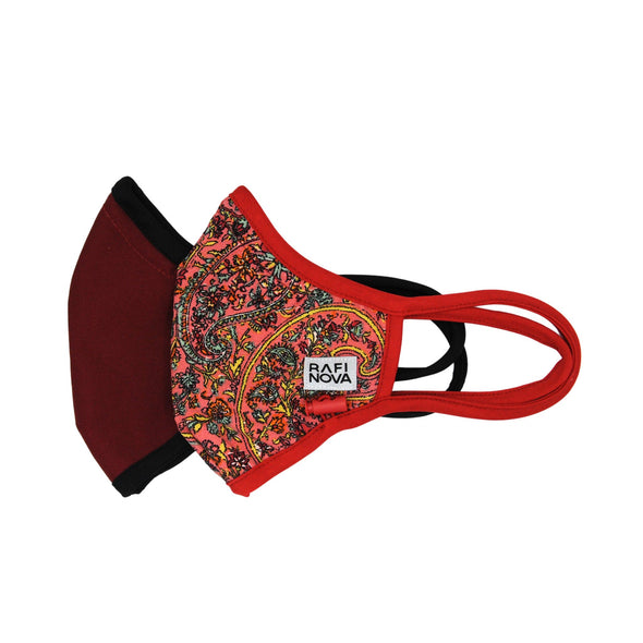 Side view of Adults Performance Mask 2-Pack Claret Paisley: 1 solid crimson red mask with black ear loops and adjustable chin toggle and 1 bright orange, yellow, blue, and red paisley pattern mask with crimson ear loops and adjustable chin toggle.