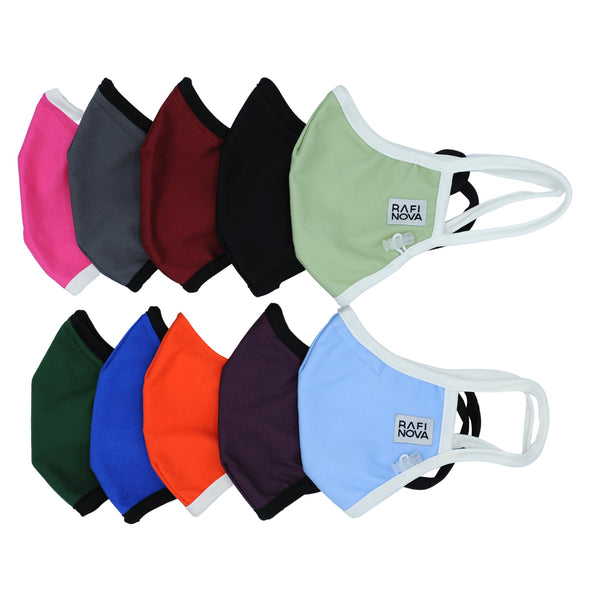 one neon pink, one grey, one cranberry, one black, one chartreuse, one emerald green, one royal blue, one neon orange, one aubergine, and one sky blue mask