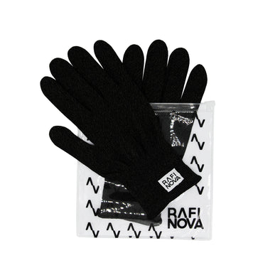 Frontview of Rafi Nova Copper infused gloves in black in clear bag with Rafi Nova printed logo in black.