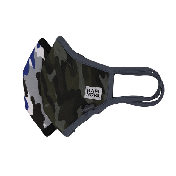 Side view of adults Performance Mask 2-Pack Green-Blue Camo:1 blue, light grey, dark grey, and white  camouflage pattern mask with black solid ear loops and adjustable chin toggle and 1 army green camouflage pattern mask with solid grey ear loops and adjustable chin toggle