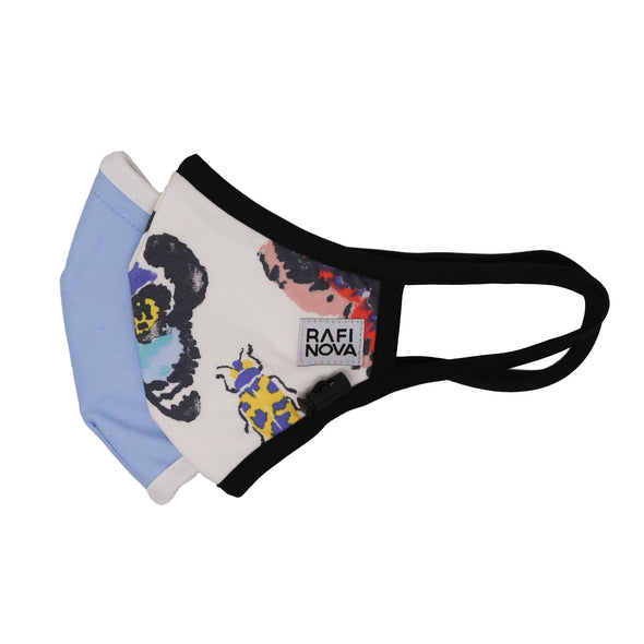 Side View of Adults Performance Mask 2-Pack Butterfly Blues: 1 white background mask with solid black ear loops and adjustable chin toggle with pastel watercolor bug pattern and 1 solid periwinkle mask with white ear loops and adjustable chin toggle