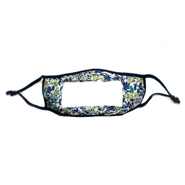 one blue and green floral pattern, ear loop smile mask