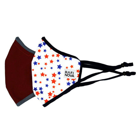 Adults SuperFit Mask 2-Pack Red Stars: 1 solid wine red mask with grey ear loops, and 1 red and blue star pattern mask.