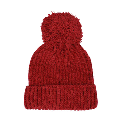 Adult Chenille Beanie in red with red pom pom against white background.