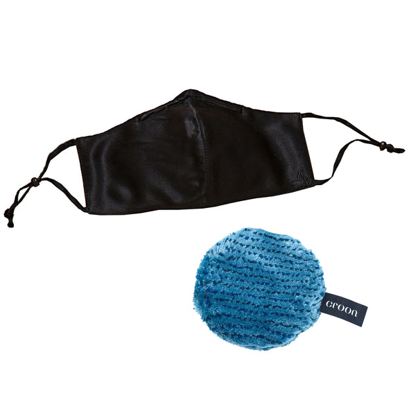 Front view of 100% mulberry silk black mask with black adjustable ear straps and blue croon makeup pad bundle.
