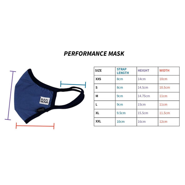 Size guide for teen performance mask clarifying size, strap length, height and width. Features diagram with photo of mask and different measurements.