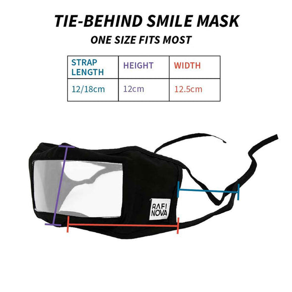 Diagram of Rafi Nova Adult Smile Mask in black with black tie behind ear straps. Diagram includes labels and descriptions of strap length, height, and width.