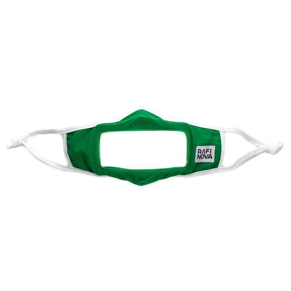 one emerald green, ear loop smile mask