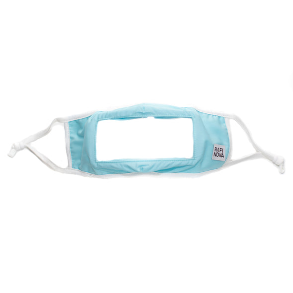 one light blue, ear loop smilemask
