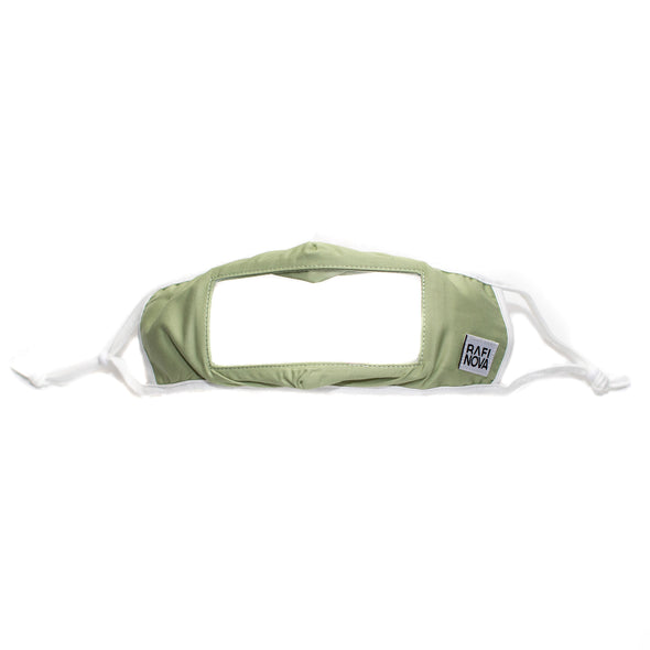 one chartreuse, ear loop smile mask