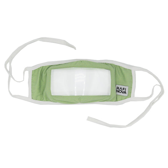 Front View of Rafi Nova Adult Smile Mask in mint with white tie behind ear straps.