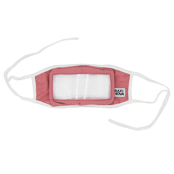 Front View of Rafi Nova Adult Smile Mask in rose with white tie behind ear straps.
