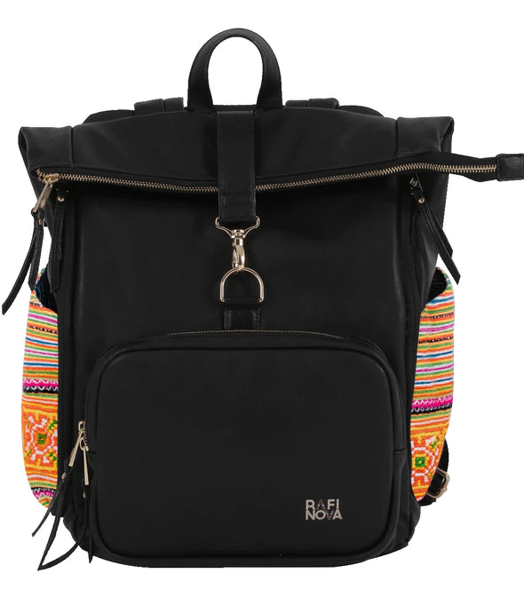 Front view of Rafi Nova SuperNova Sapa backpack in black. Black vegan leather bag with orange fabric detailing on sides. Textiles made by Hmong artisans. Zippered closure top pocket and zippered closure front pocket.
