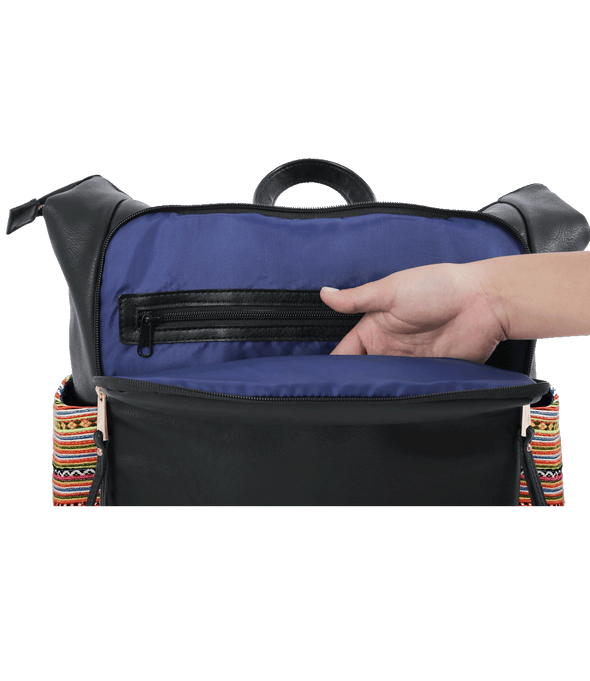 Front view of hand reaching into interior of bag. Navy blue easy wipe interior.