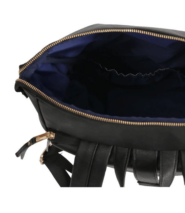 Overhead view of Rafi Nova Black Sapa SuperNova bag. Zippered closure top pocket with navy blue easy wipe interior. Black backpack straps.