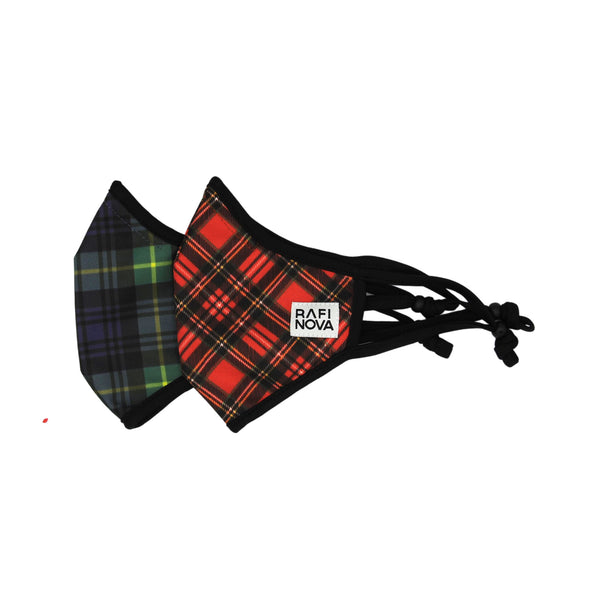 Kids SuperFit Holiday Mask 2-Pack Tartan: 1 green tartan plaid pattern mask, and 1 red tartan plaid pattern mask. Side View.