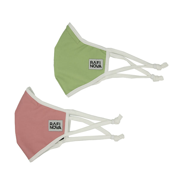 Kids SuperFit Mask 2-Pack Princess Pea: 1 solid dusty rose mask, and 1 solid olive green mask. side view.