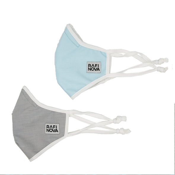 Little Kids SuperFit Mask 2-Pack Winter Ice: 1 solid smoke grey mask, and 1 solid sky blue mask. side view