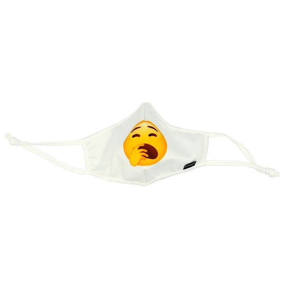 Front view of Rafi Nova x emoji adults superfit mask in yawn pattern. White mask with round yellow face with yawning expression. White adjustable ear loops.