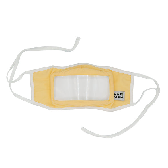 Front View of Rafi Nova Adult Smile Mask in yellow with white tie behind ear straps.