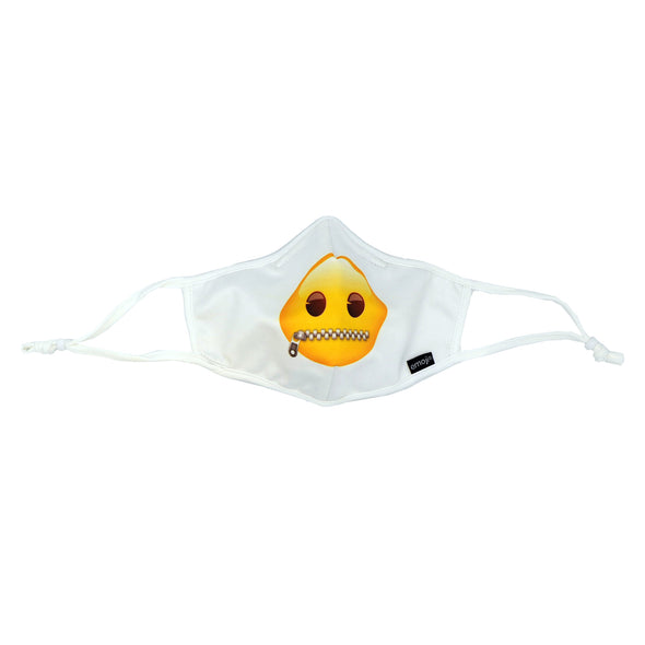 Rafi Nova x Emoji Adult Superfit mask in Zipped Mask Pattern. White mask with yellow face and zipper closed mouth image. White adjustable ear loops.
