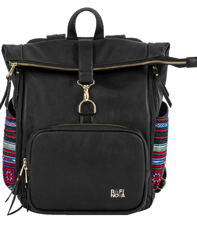 Front view of Rafi Nova Black Batik SuperNova Bag. Black backpack made of vegan leather with one front zippered pocked. Features blue, red and teal fabric made by Hmong artisans on side pouches. Has a zippered and clasp closure top pouch and handle.