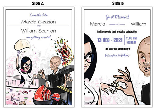 Cartoon Artwork- Wedding Invitation For Cooking Lovers