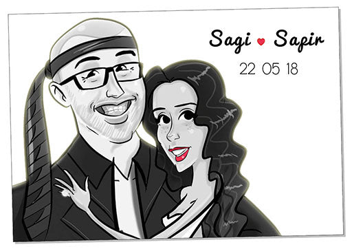 Cartoon artwork for a wedding