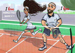 cartoon artwork tennis