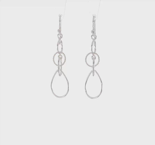 Silver Circles and Teardrop Dangle Earrings