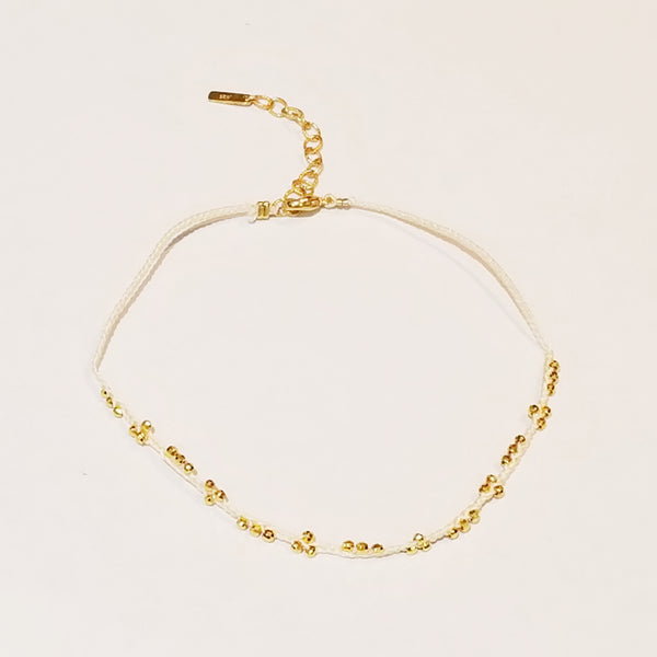 Gold-plated Beads White Braided Anklet