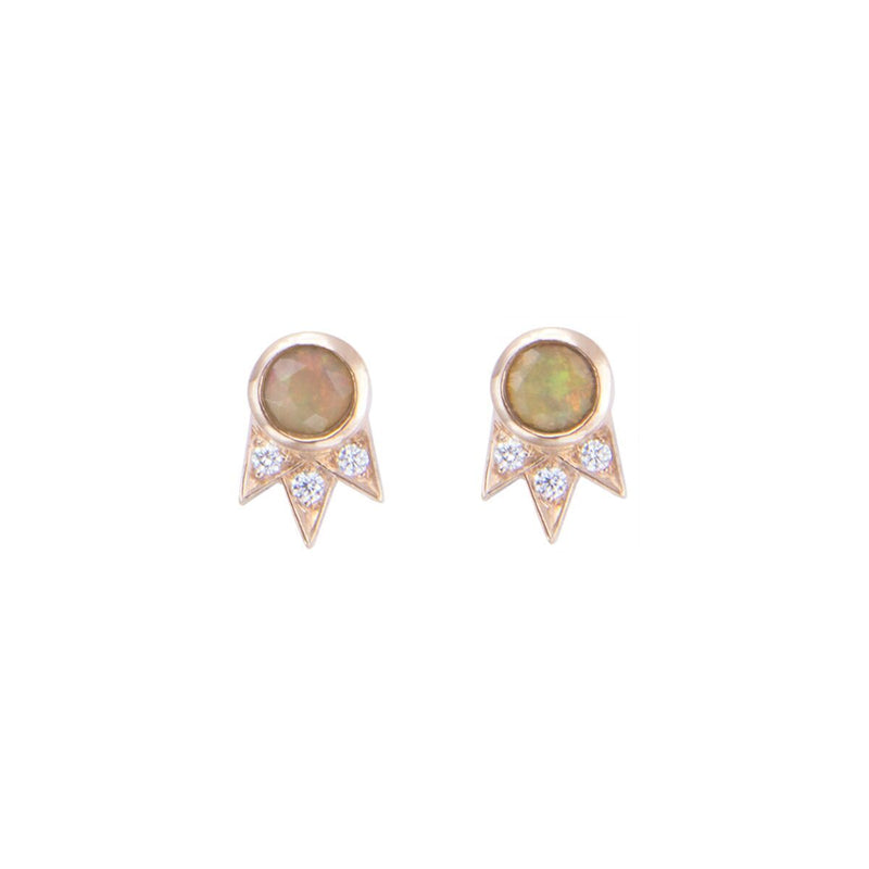 Opal and Diamond Rose Gold Starburst Stud Earrings - available on special order