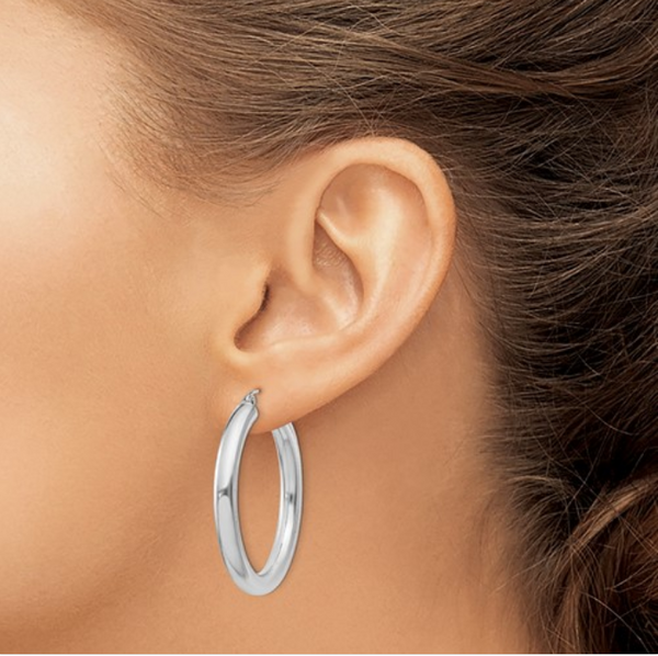 Silver Polished Hollow 34mm Hoop Earrings