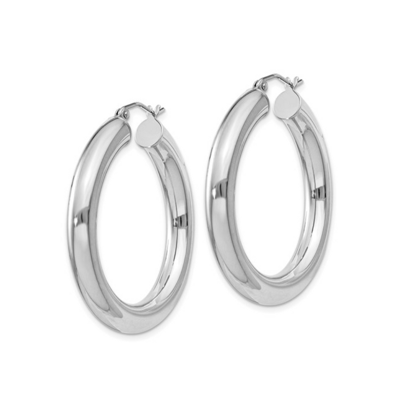 Silver Polished Hollow 35mm Hoop Earrings